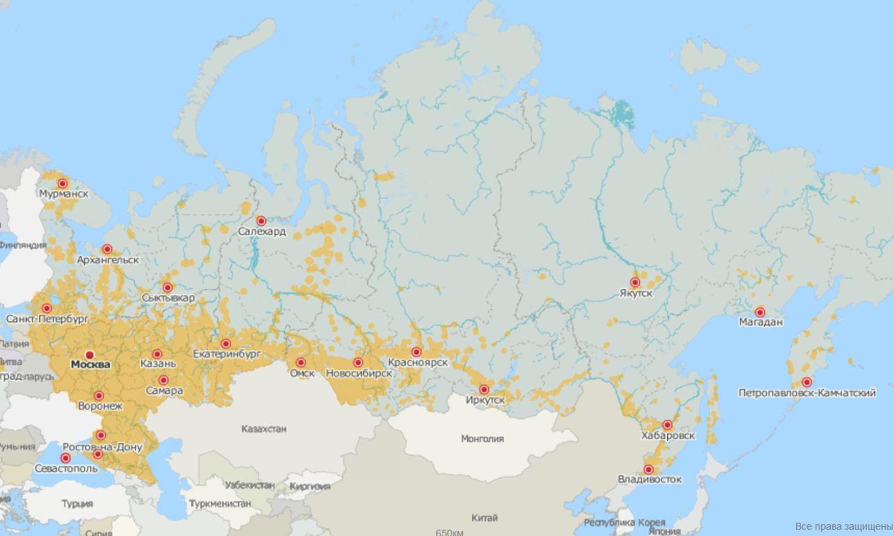 Карта покрытия сотового оператора Тинькофф